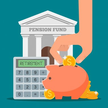 Pension fund concept vector illustration in flat style design. Finance investment and saving background with bank building, money coins.