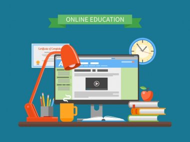 Online education concept. Vector illustration in flat style. Internet training courses design elements.