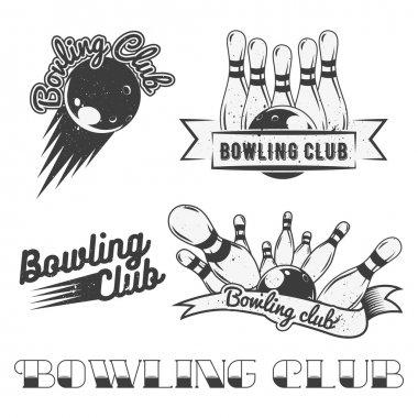 Bowling club logo vector set in vintage style. Labels, badges and emblems. Strike, balls, ninepins