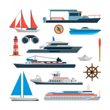 Sea vector set of ships, boats and yacht isolated on white background. Marine transport design elements, icons in flat style