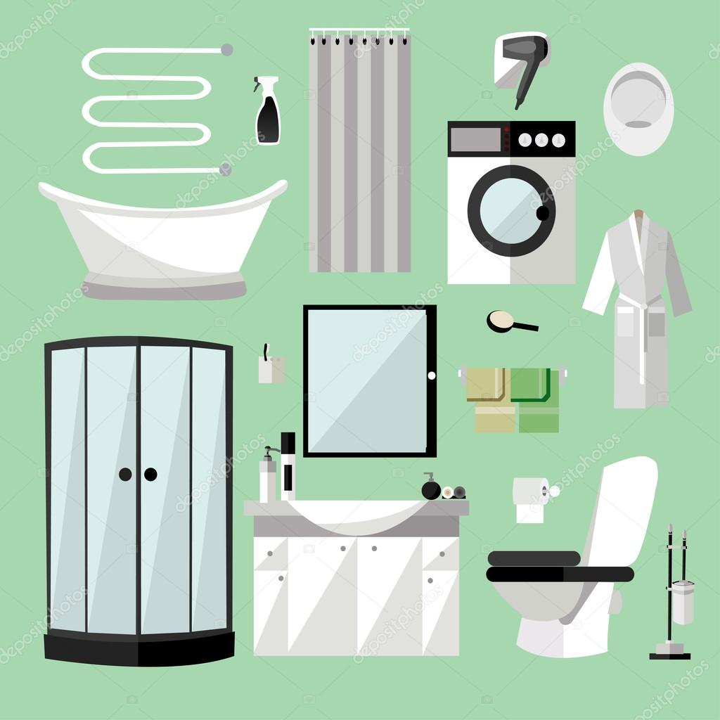 Bathroom Interior Furniture Vector Illustration In Flat Style