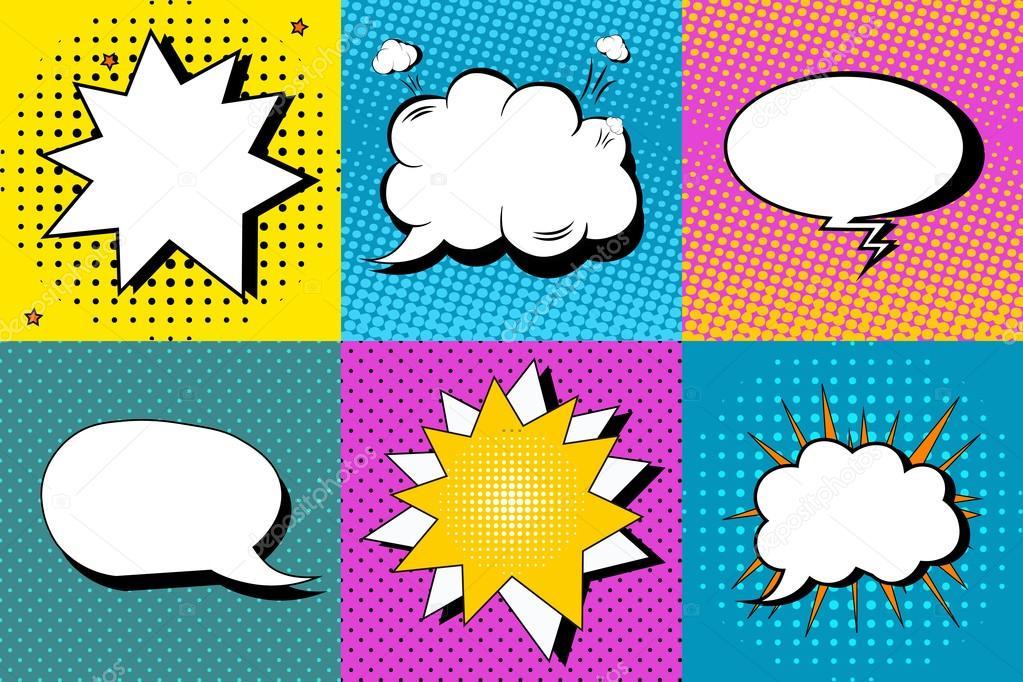 vector set of comic speech bubbles in pop art style design elements