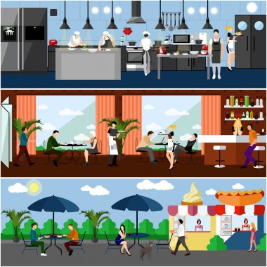 Vector banner with restaurant interiors. Kitchen, dining room and street cafe. Illustration in flat design