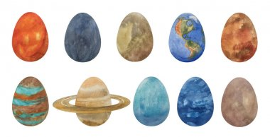 Set, a collection of Easter eggs in the form of planets of the solar system, where there is the Sun, Mercury, Venus, Earth, Mars, Jupiter, Saturn, Uranus and Neptune, as well as Pluto for the design of greeting cards