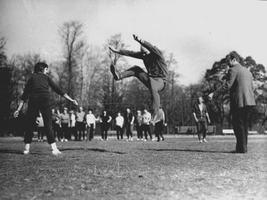 Polish people exercising in Lazienki Krolewskie park, Warsaw circa 1975
