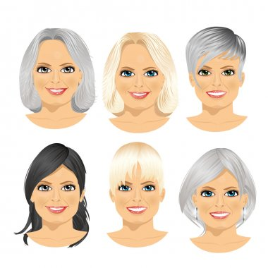 Set of mature woman avatar with different hairstyles isolated on white background stock vector