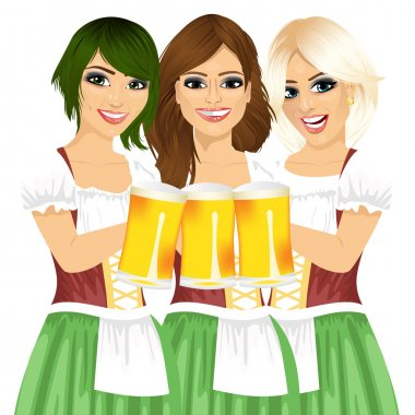 three beautiful waitresses holding beer mugs for oktoberfest party toasting wearing a dirndl