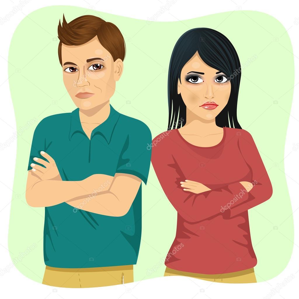 怒っているカップル互いの肩の上を見ると腕を組んでを保持 ストック