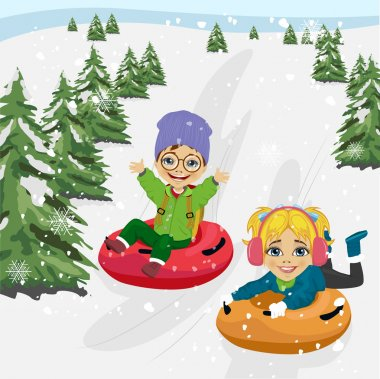Little boy and girl sliding down the hill on tubes stock vector