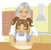 Fényképek nagymama tanítás unokája, hogyan-hoz zsemlye ki a tésztát, szakács pizza konyha