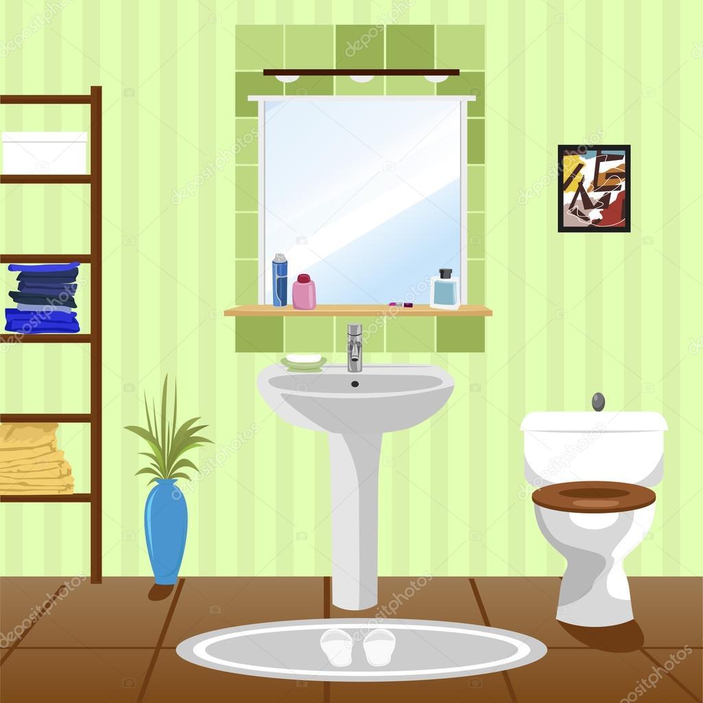 interior of green bathroom with sink, bathtub, toilet — Stock Vector ...