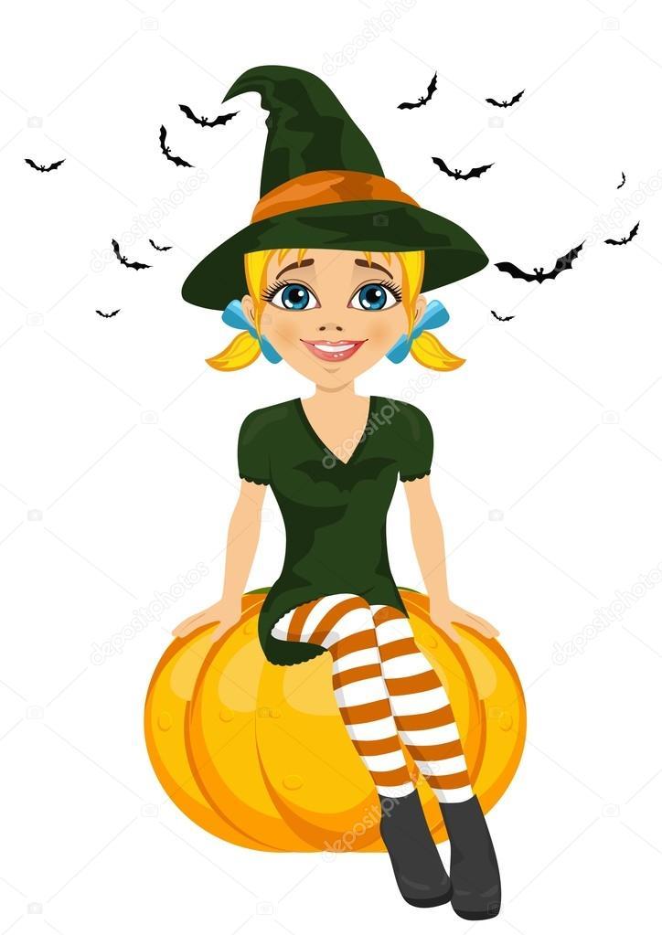 ハロウィーン カボチャの上に座ってかわいい魔女 ストックベクター