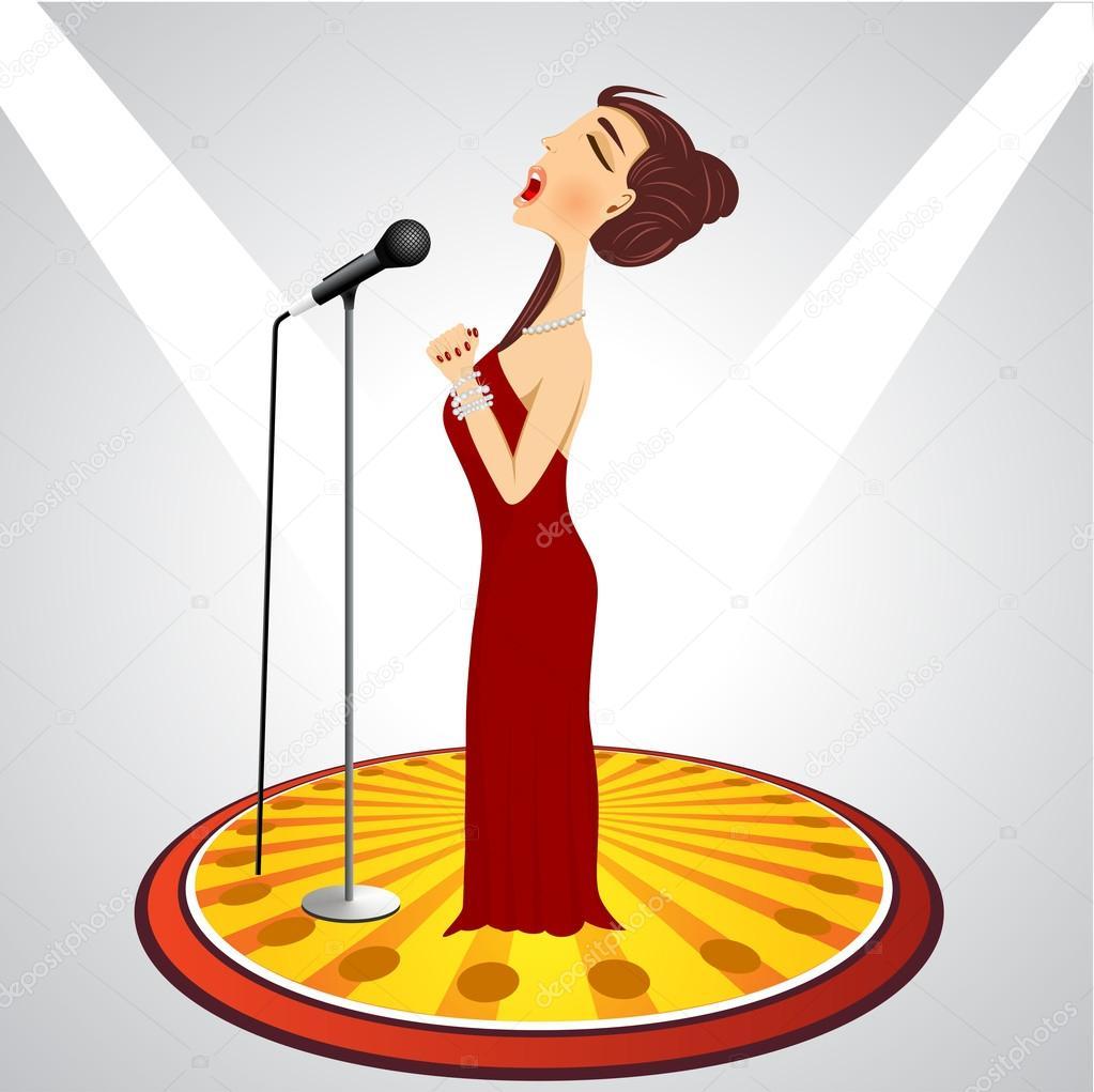 Cantora dos desenhos animados com microfone —  Vetores de Stock