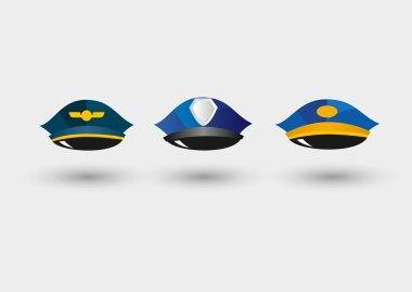 Set of pilots service cap, police peaked cap and postmans hat stock vector