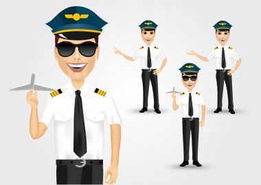Set of young friendly pilots solated over white background stock vector