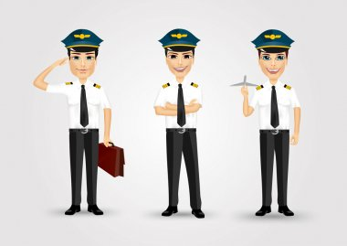set of young friendly pilots