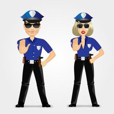 confident policeman and policewoman