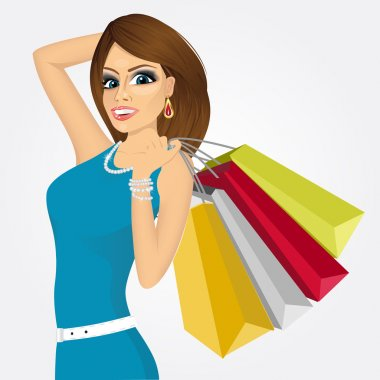 smiling young woman with shopping bags
