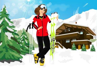 pretty woman skier in mountain resort
