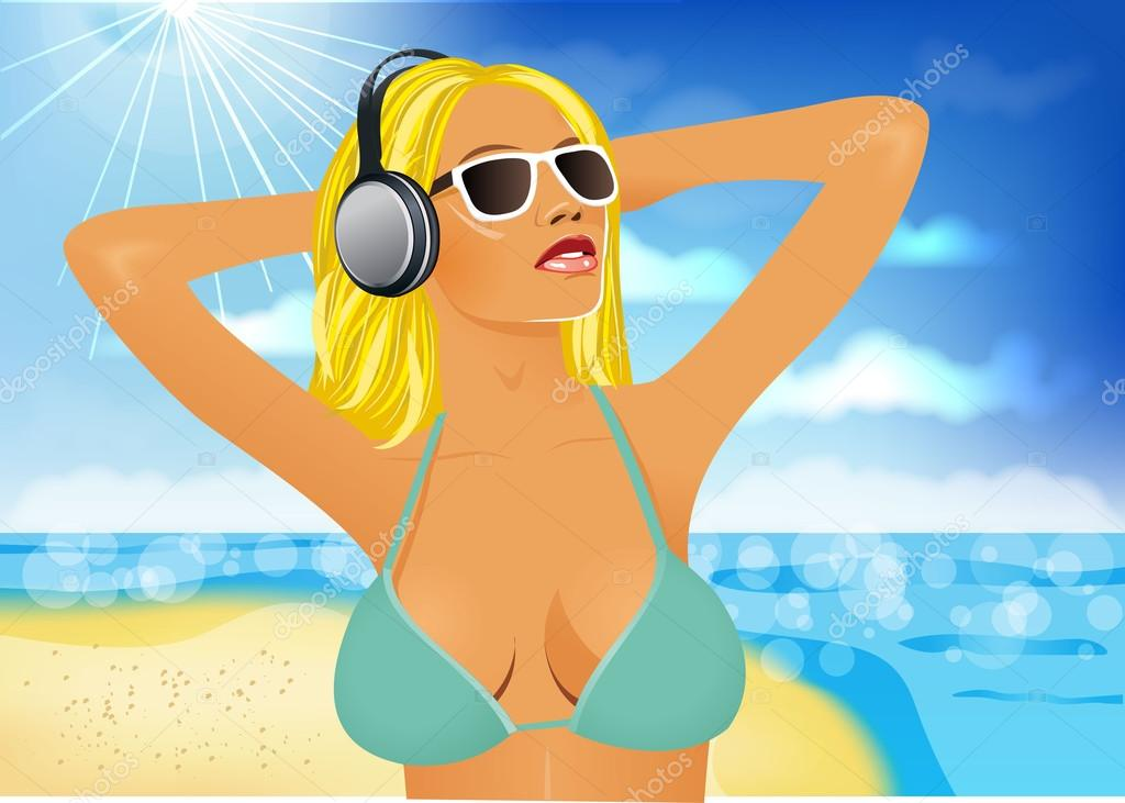 woman listening to the music on the beach