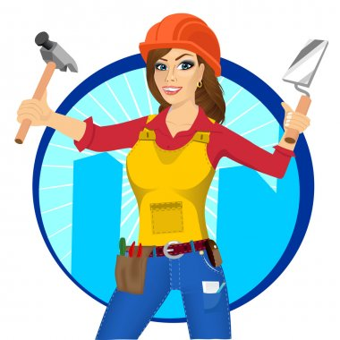 plasterer woman with trowel and paint roller