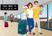 Fotografia Coppie felici con i bambini in un aeroporto