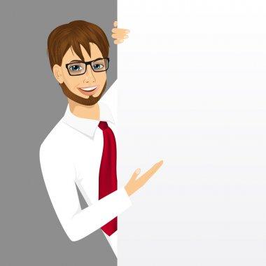 businessman with a blank presentation board