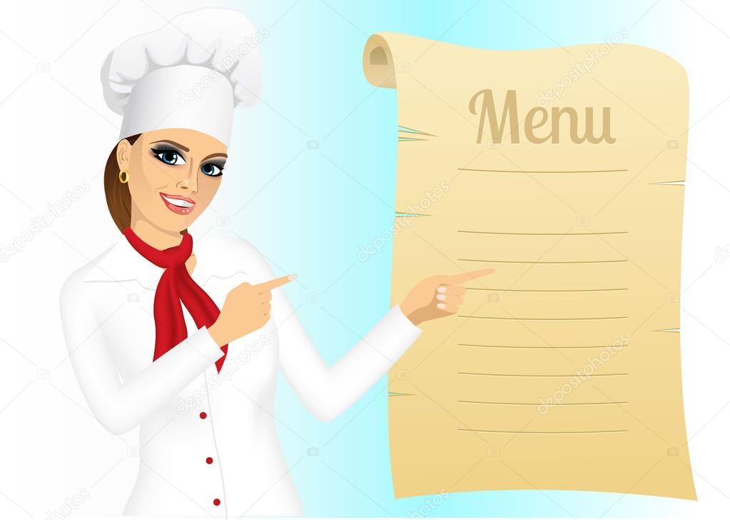 chef mujer feliz señalando en el menú — Archivo Imágenes