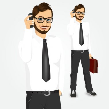 modern hipster businessman talking on the phone