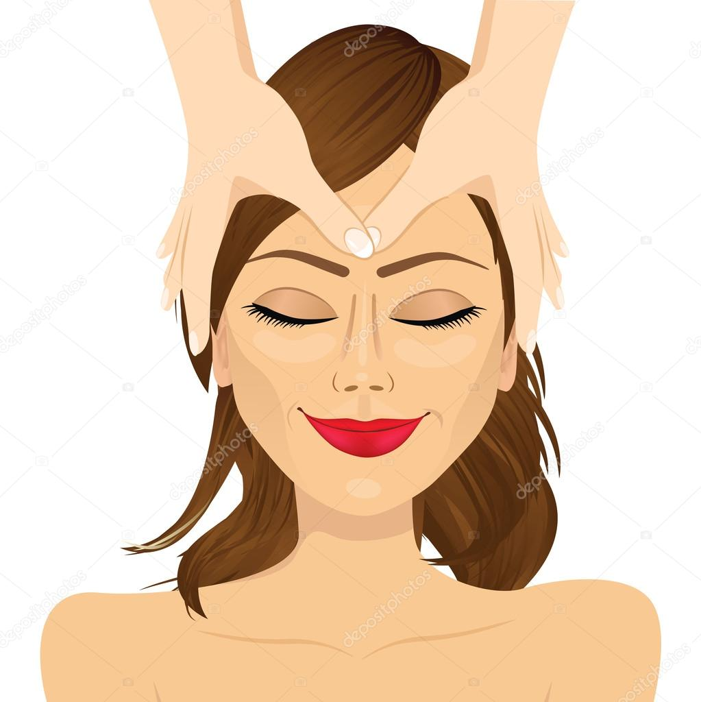 Woman Enjoying Relaxing Facial Massage Treatment Stock Vector C Flint01 88217454