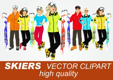 portrait of group of skiers