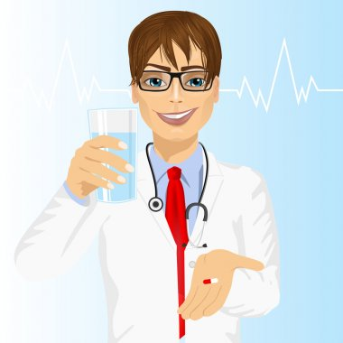 doctor offering a pill with glass of water