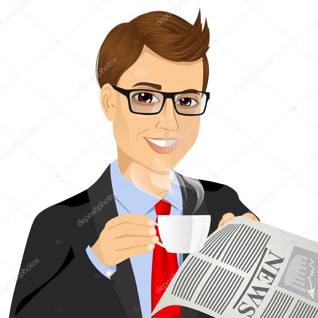 コーヒーを飲みながら新聞を読むの実業家 — ストックベクタ