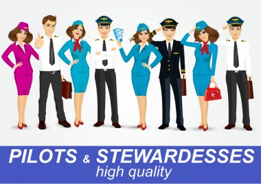 set of pilots and two stewardesses in uniform