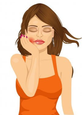 woman suffering toothache pain