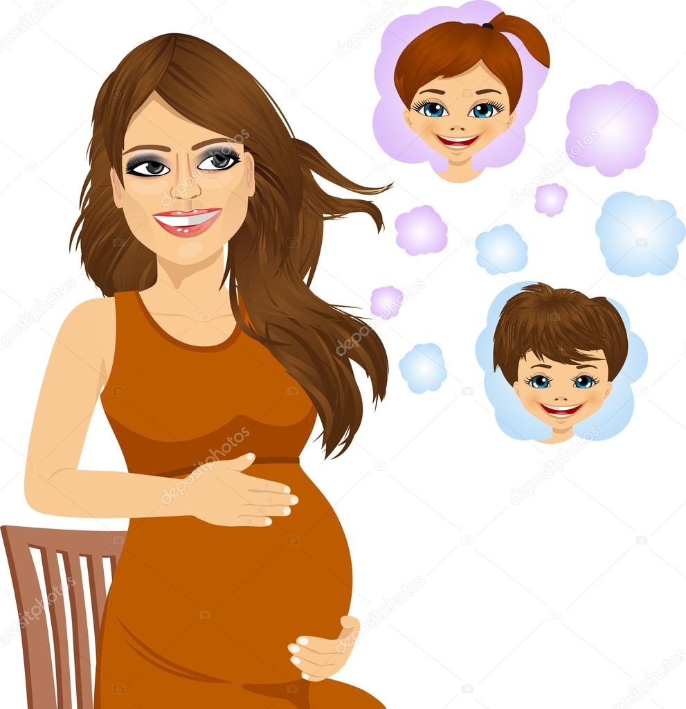 Pregnant Woman Dreaming About Her Future Babies Stock Vector