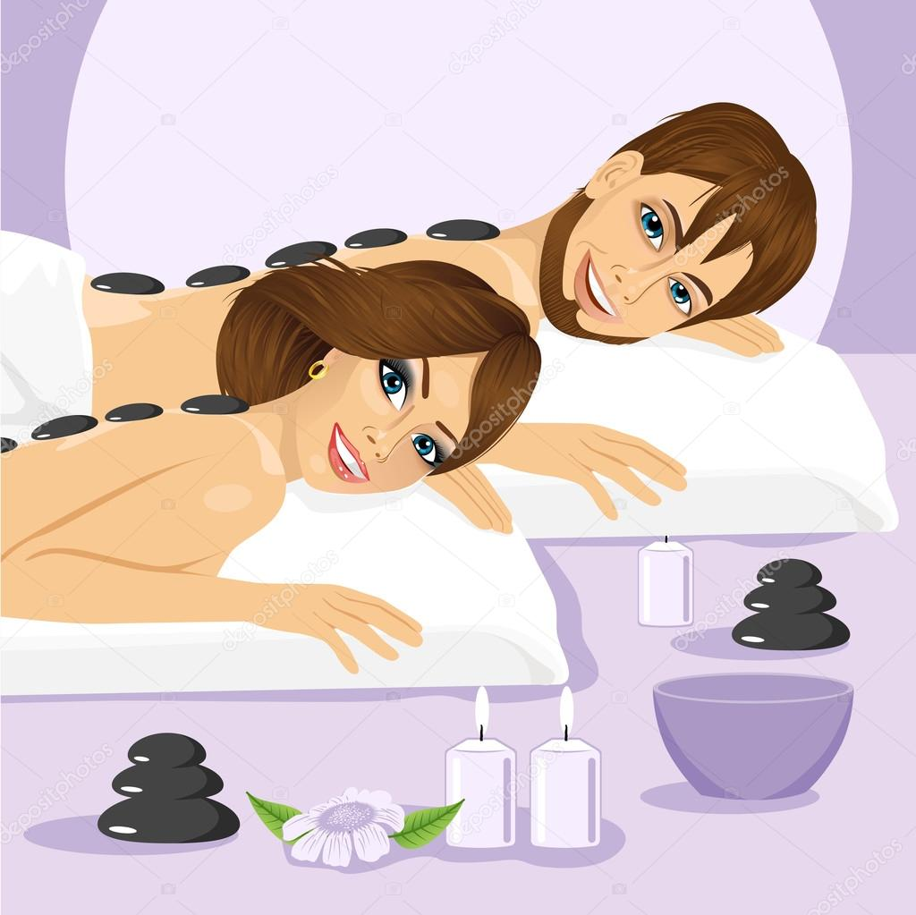 attractive young couple on a spa