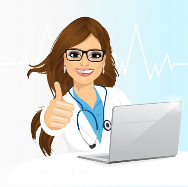 Portrait of young female doctor with glasses using her laptop computer isolated on white background clip art vector