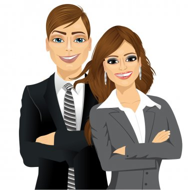 business people standing with arms folded