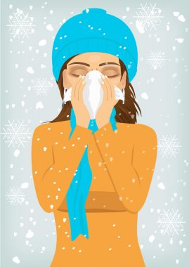Attractive woman wearing a warm knitted cap and scarf suffering influenza and runny nose blowing her nose with a handkerchief clip art vector