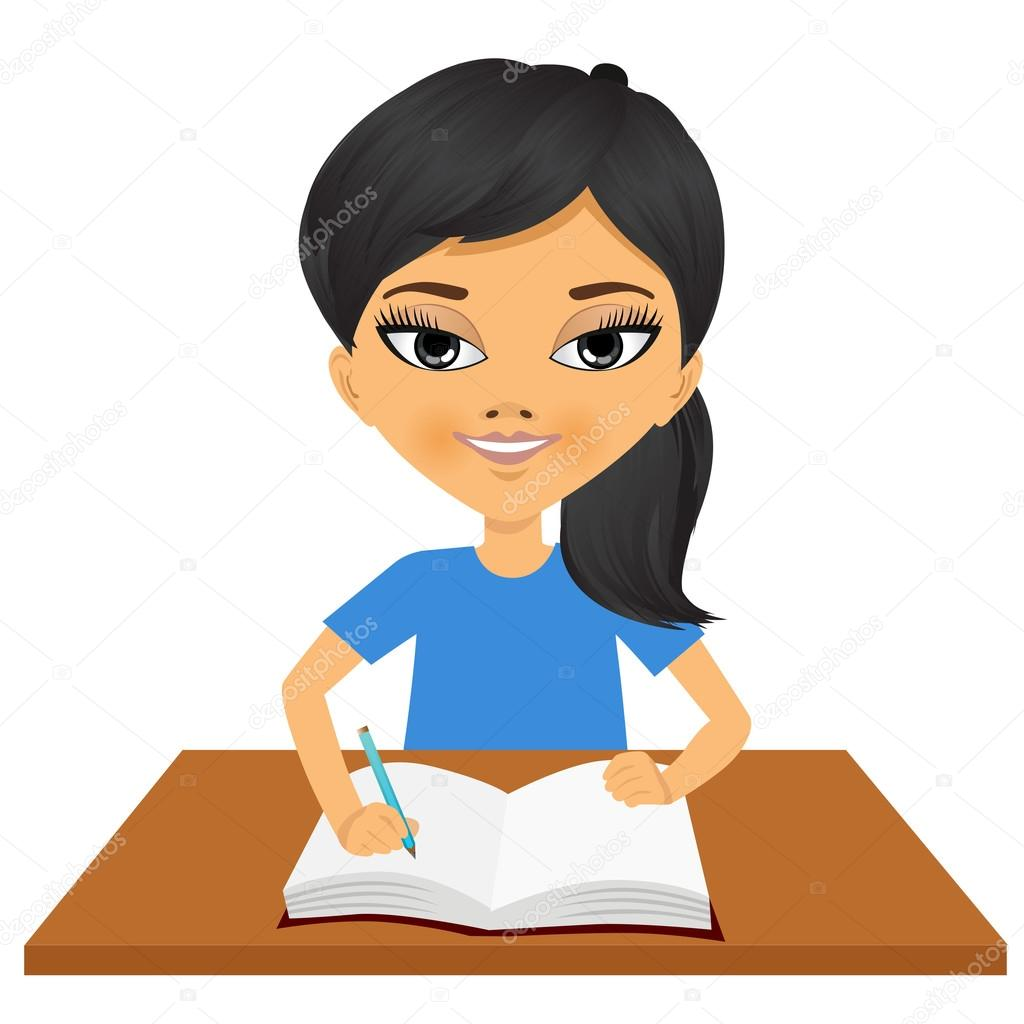 cute little asian student girl writing stock vector student sitting at desk clipart Student Sitting at Desk with Head Down Clip Art