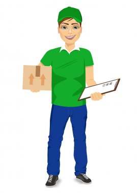 delivery man carrying mail package and holding clipboard
