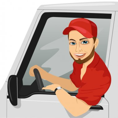 Smiling truck driver in the car