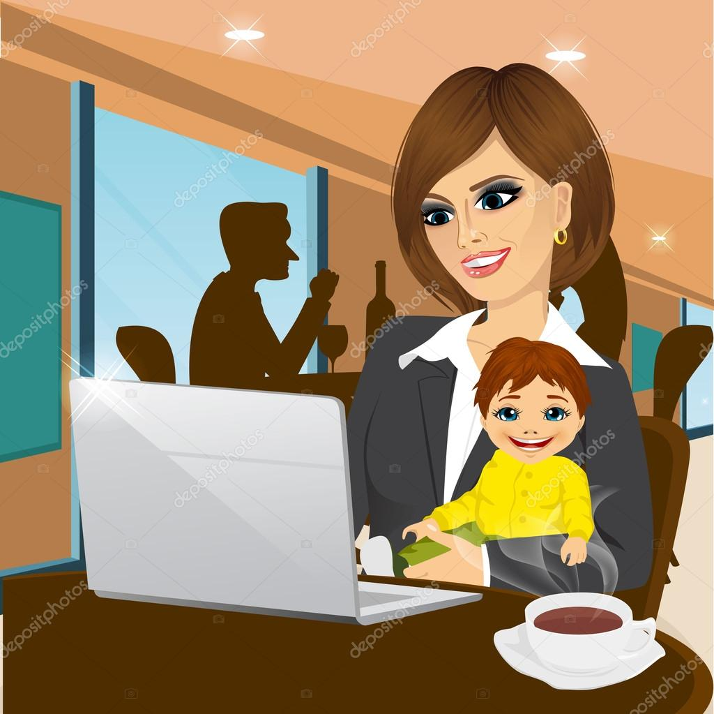 smiling mother working on laptop in cafe