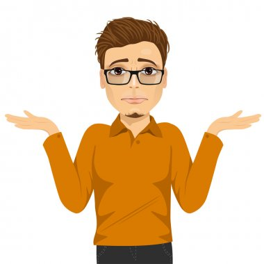 young man with glasses in doubt making shrug expression