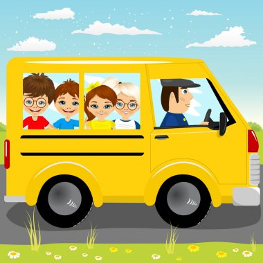 caucasian school kids riding a schoolbus