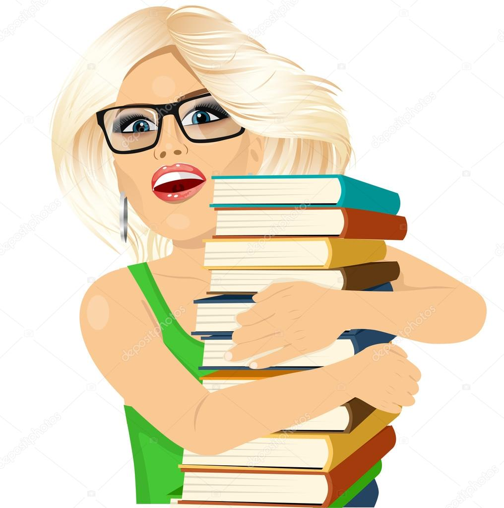Blonde Woman Hugging Stack Of Books Happily Stock Vector