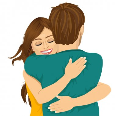 Attractive young hispanic woman hugging her man with tender love and passion stock vector