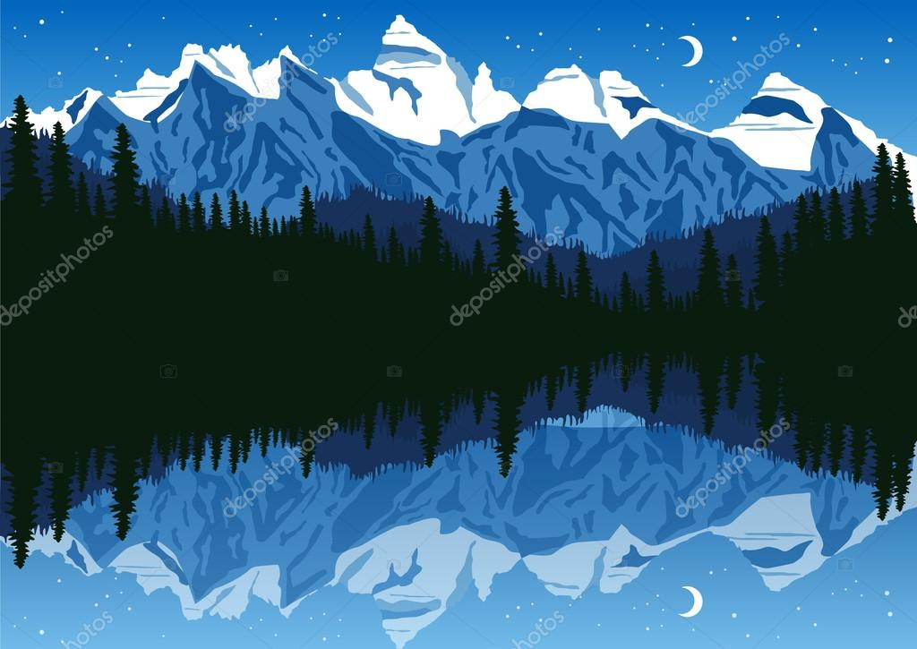 lake near the pine forest in mountains under the night sky