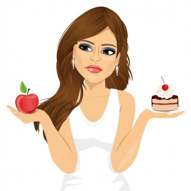 Portrait of doubtful woman holding an apple and dessert trying to decide which one to eat stock vector